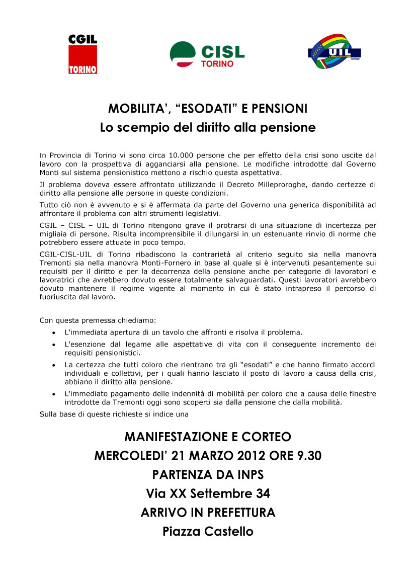mobilita esodati pensioni